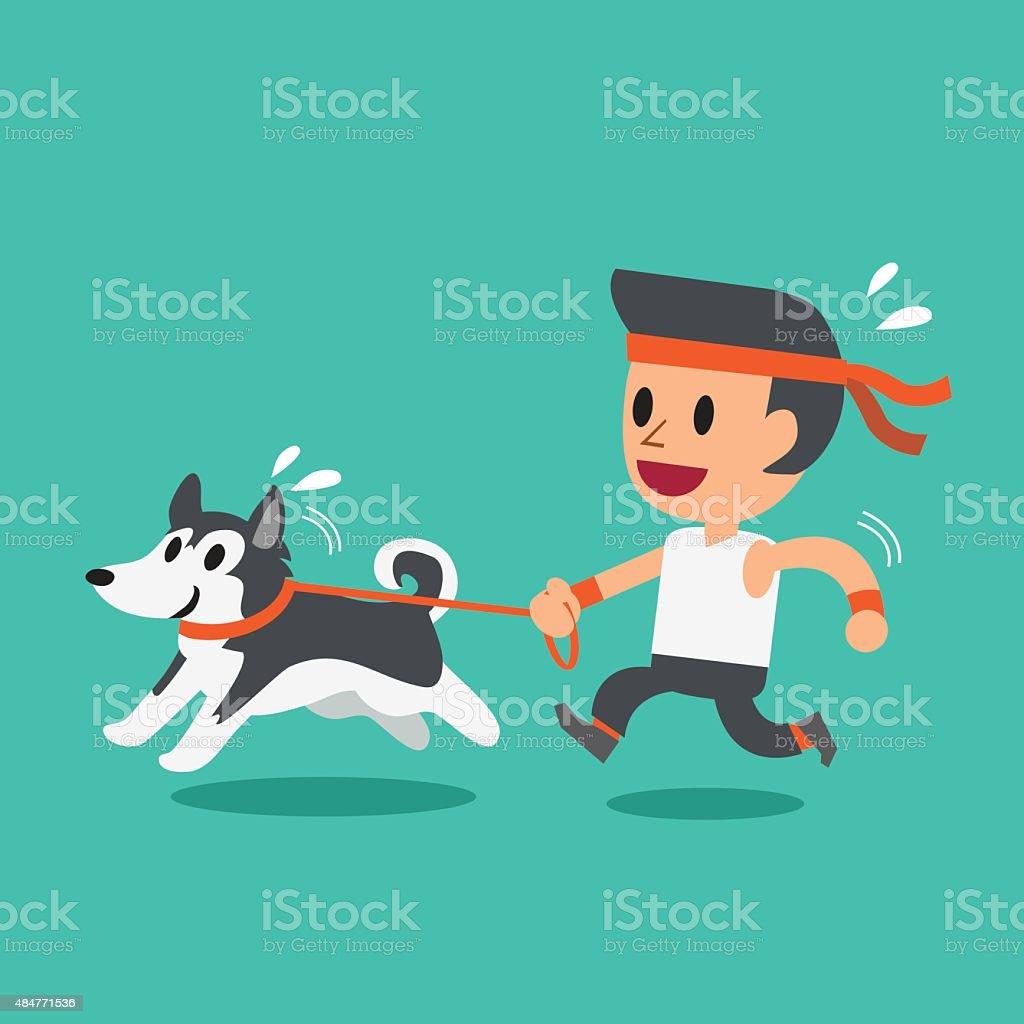 Cartoon man running with his siberian husky dog vector art illustration