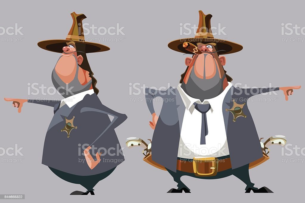 cartoon man sheriff in a hat stands in front and side vector art illustration