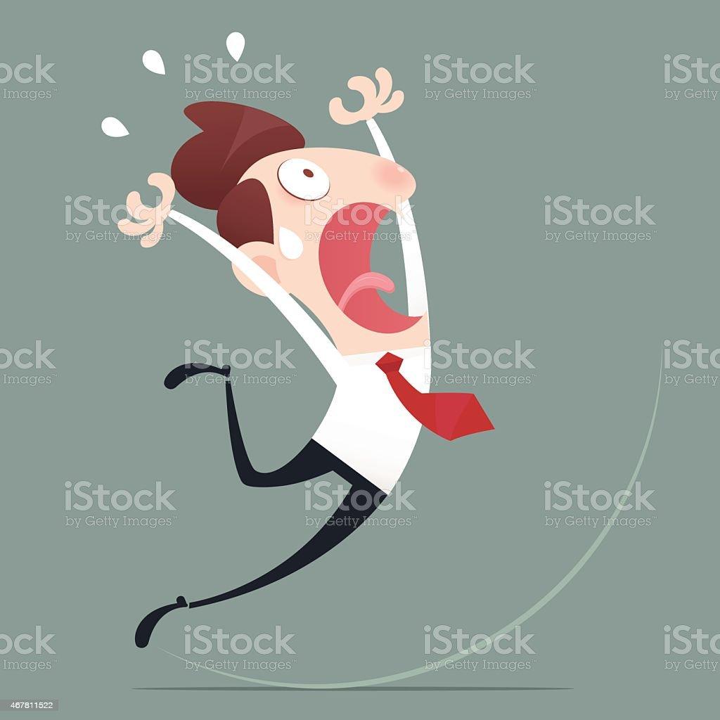 Cartoon man slipping on gray background vector art illustration