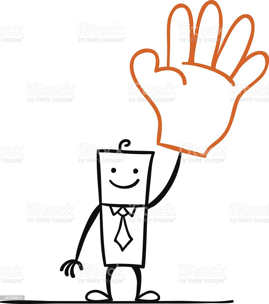 Cartoon man with a big hand gesture vector art illustration