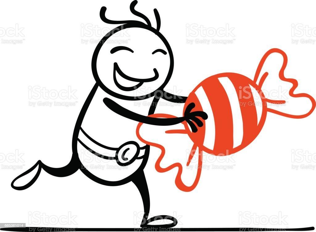 Cartoon man with a big sweet vector art illustration
