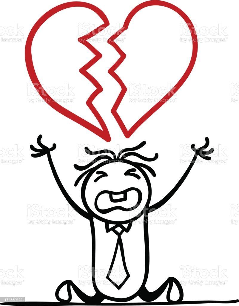 Cartoon man with a broken heart royalty-free stock vector art