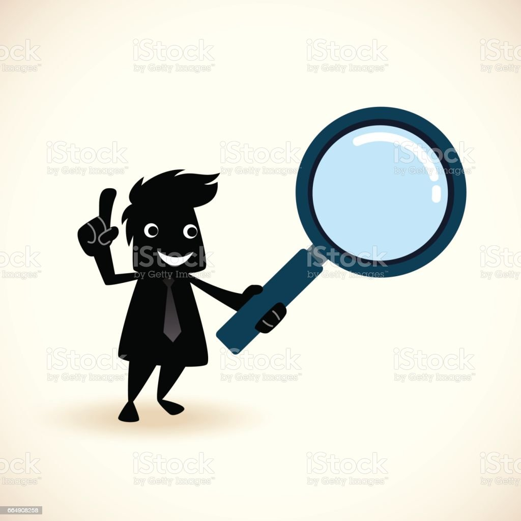 Cartoon man with a magnifier vector art illustration