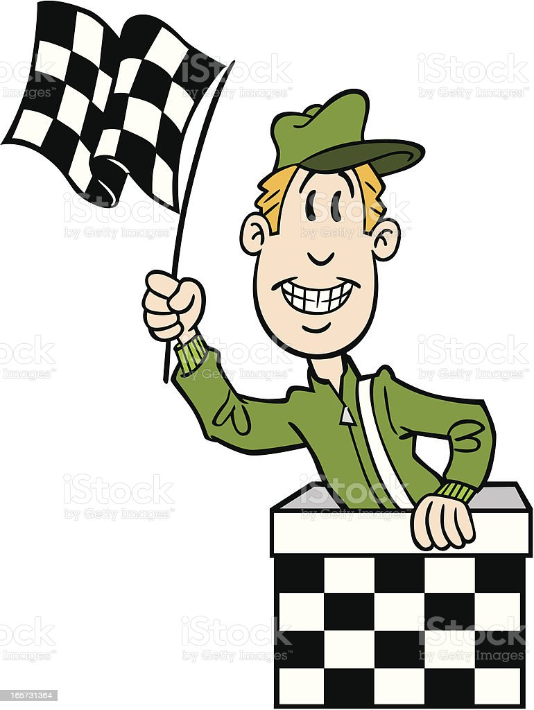 Cartoon Man With Checkered Flag royalty-free stock vector art