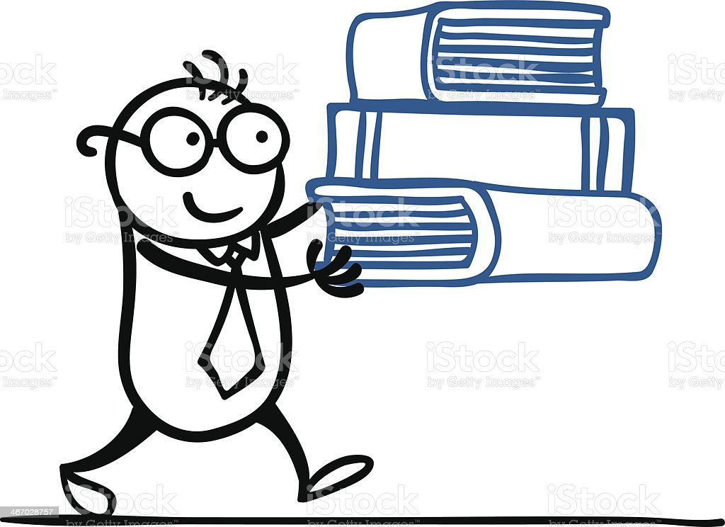 Cartoon man with his books royalty-free stock vector art