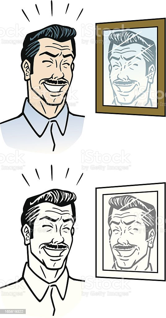 Cartoon Man With Mustache vector art illustration