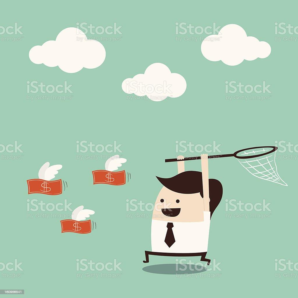 Cartoon man with net runs to capture flying, red money vector art illustration