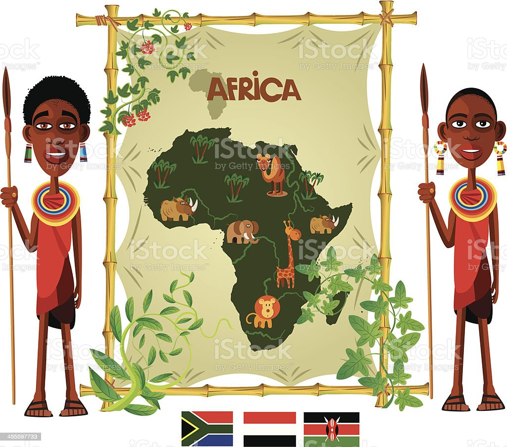 Cartoon map of Africa royalty-free stock vector art