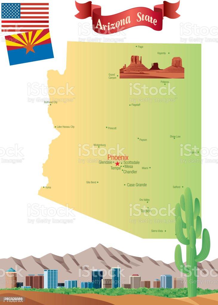 Cartoon map of Arizona vector art illustration