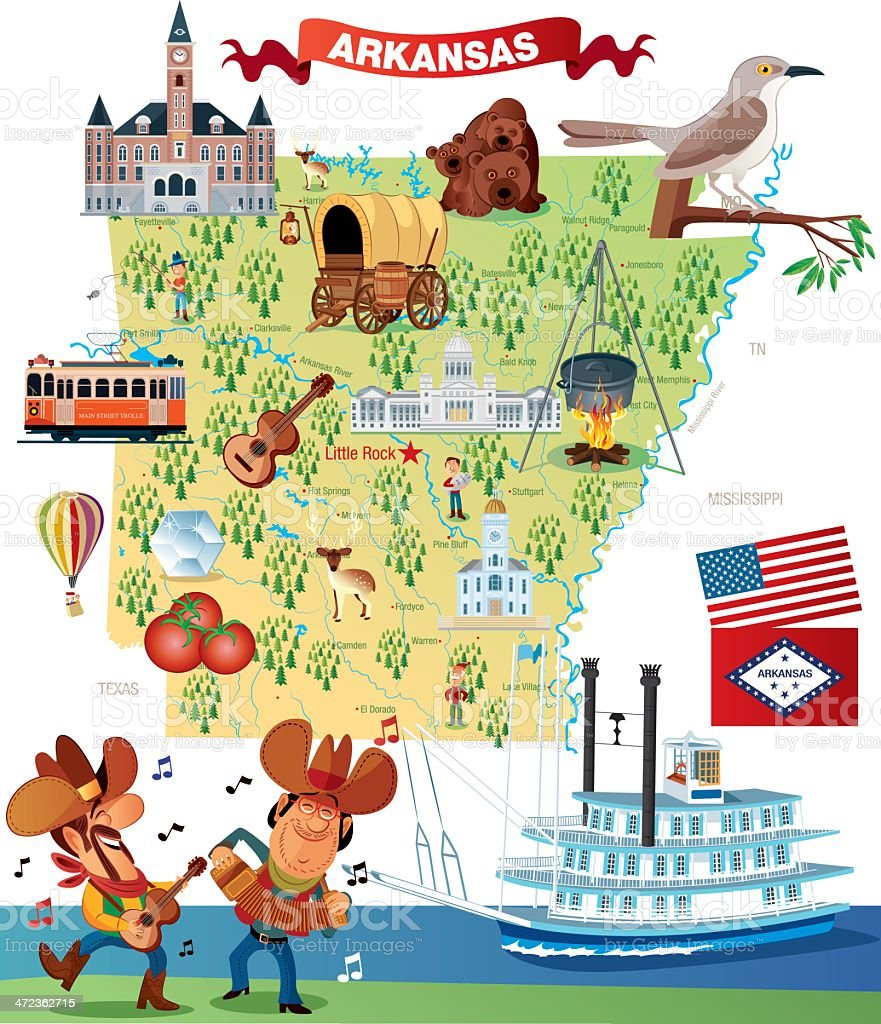 Cartoon map of Arkansas vector art illustration
