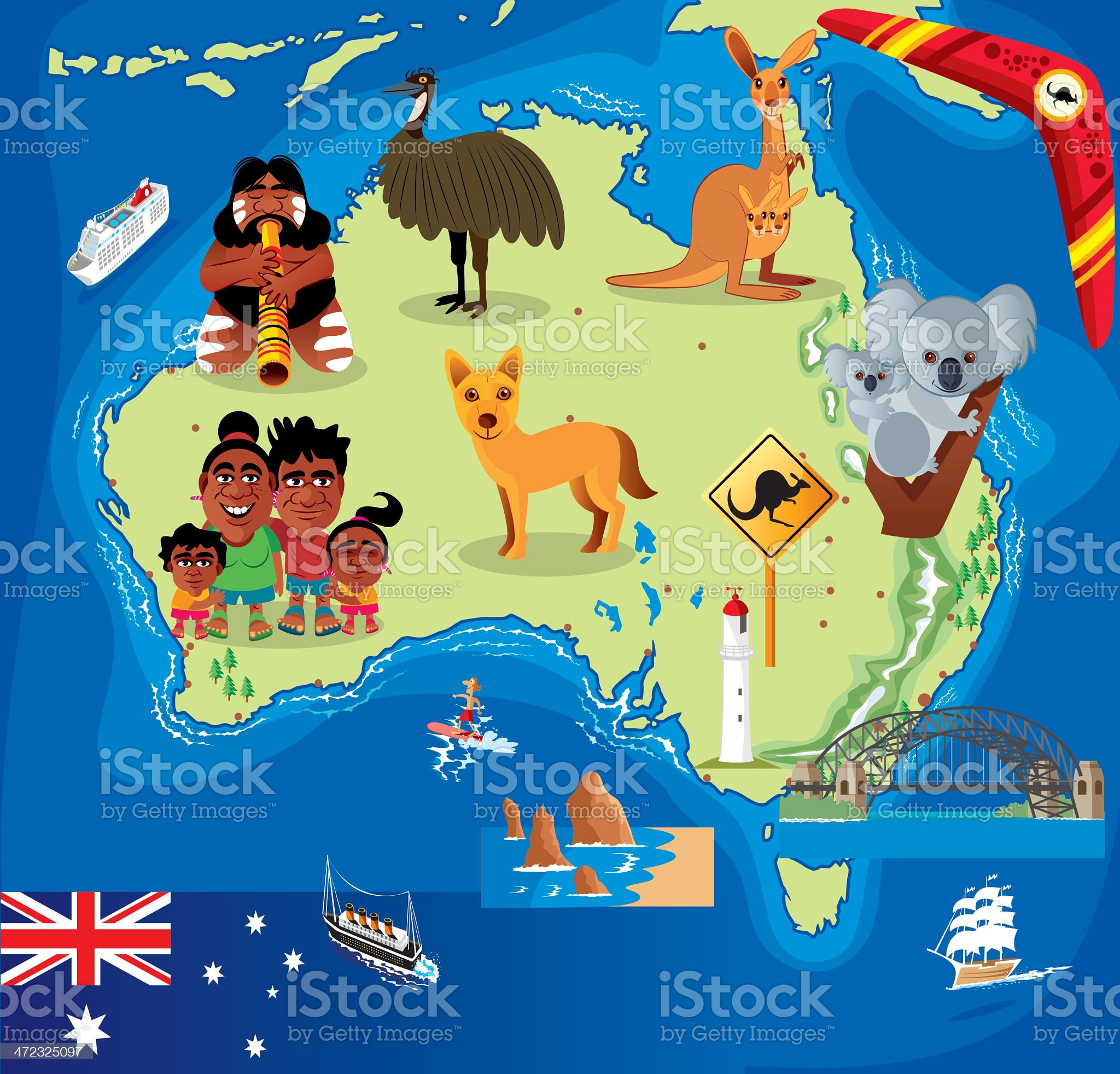 Cartoon map of Australia royalty-free stock vector art