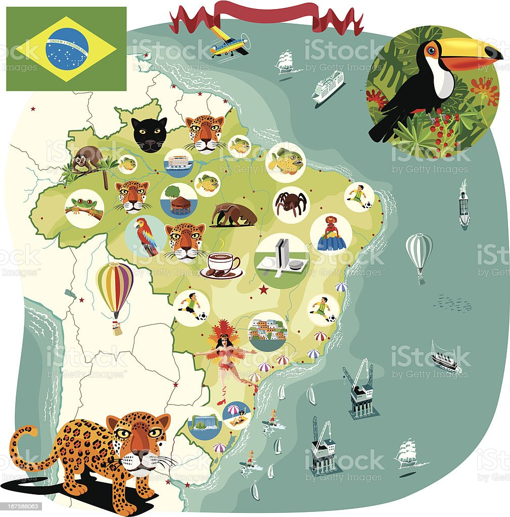 Cartoon map of Brazil royalty-free stock vector art