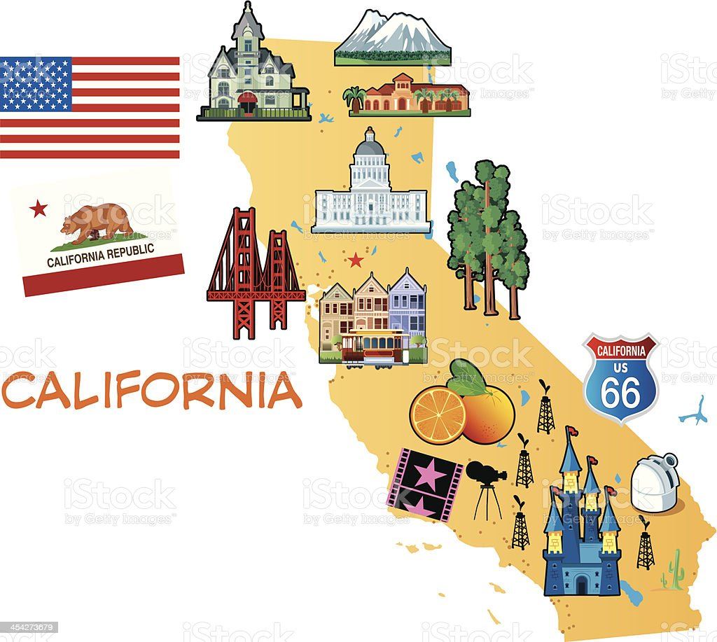 Cartoon Map Of California stock vector art 454273679   iStock