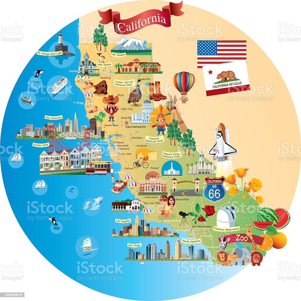 Cartoon Map Of California Stock Vector Art IStock - Map of us cartoon