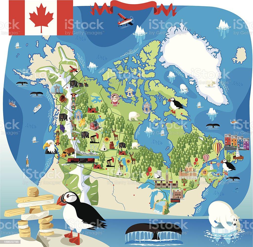 Cartoon map of Canada vector art illustration