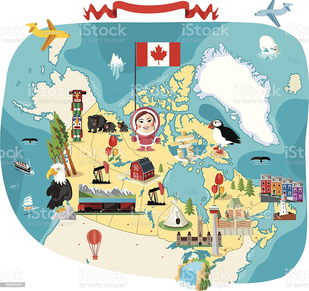 Cartoon map of Canada royalty-free stock vector art