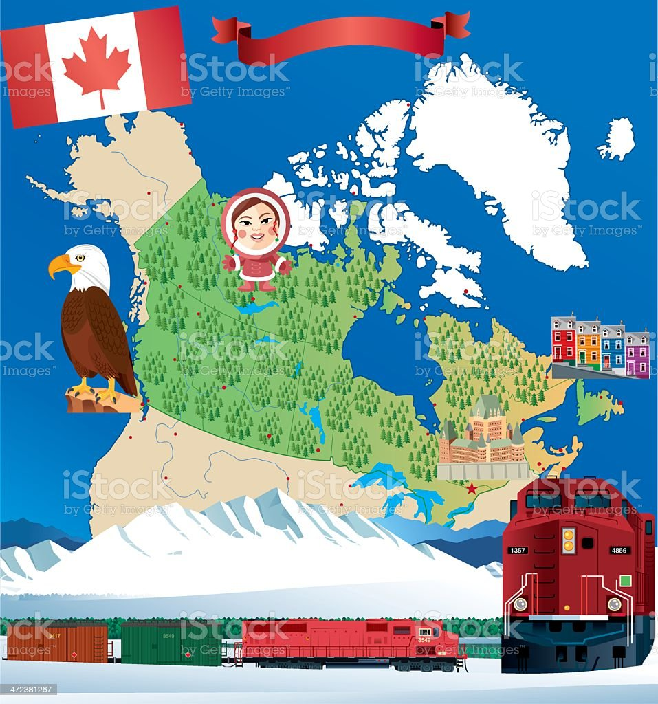 Cartoon map of Canada royalty-free stock vector art