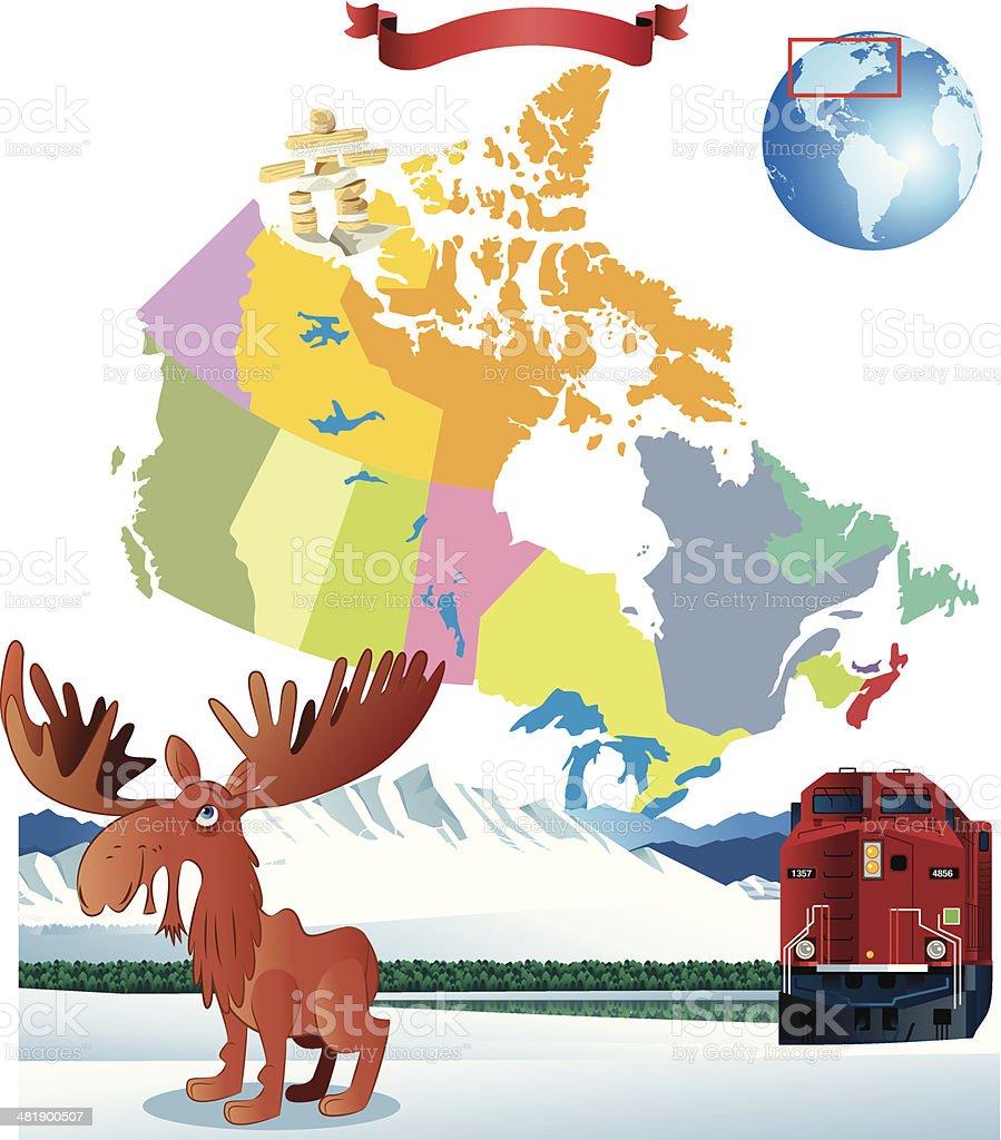 Cartoon Map Of Canada Stock Vector Art IStock - Map of us cartoon