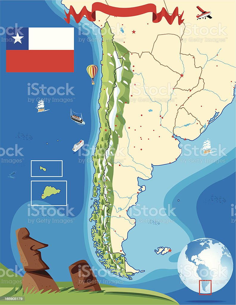 Cartoon map of  Chile royalty-free stock vector art