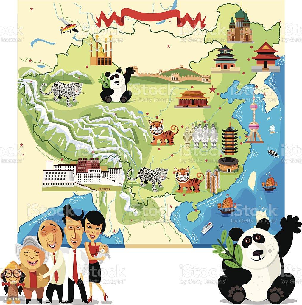 Cartoon map of China vector art illustration