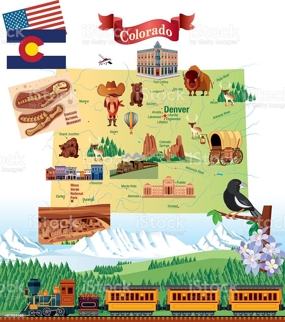 Cartoon Map of Colorado vector art illustration