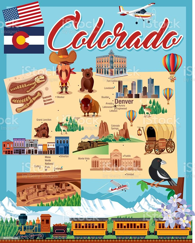 Cartoon map of COLORADO vector art illustration