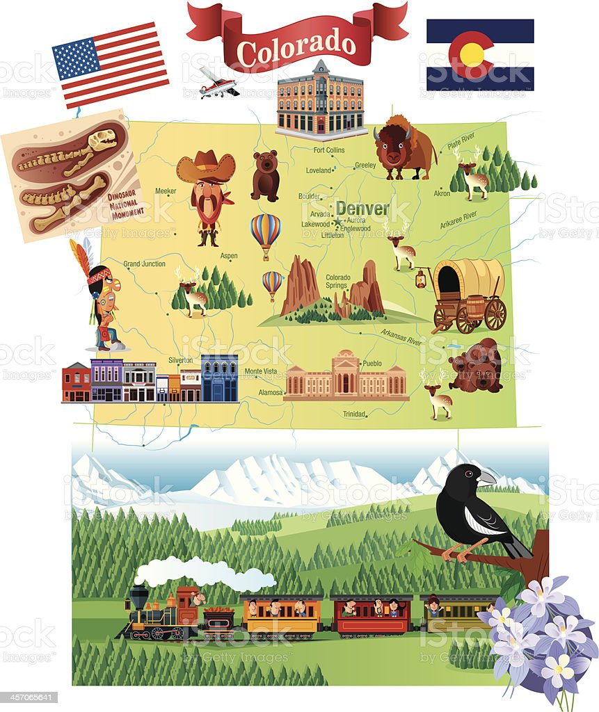 Cartoon map of Colorado with details about the state vector art illustration