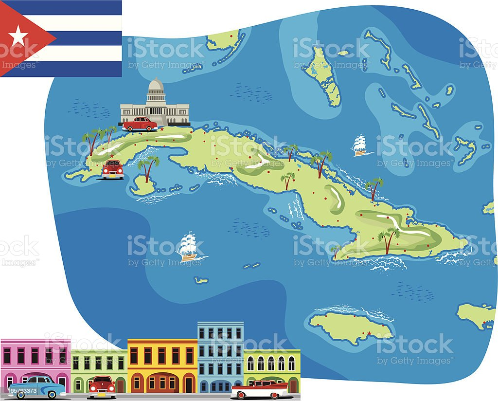 Cartoon Map Of Cuba Stock Vector Art IStock - Cuba on us map