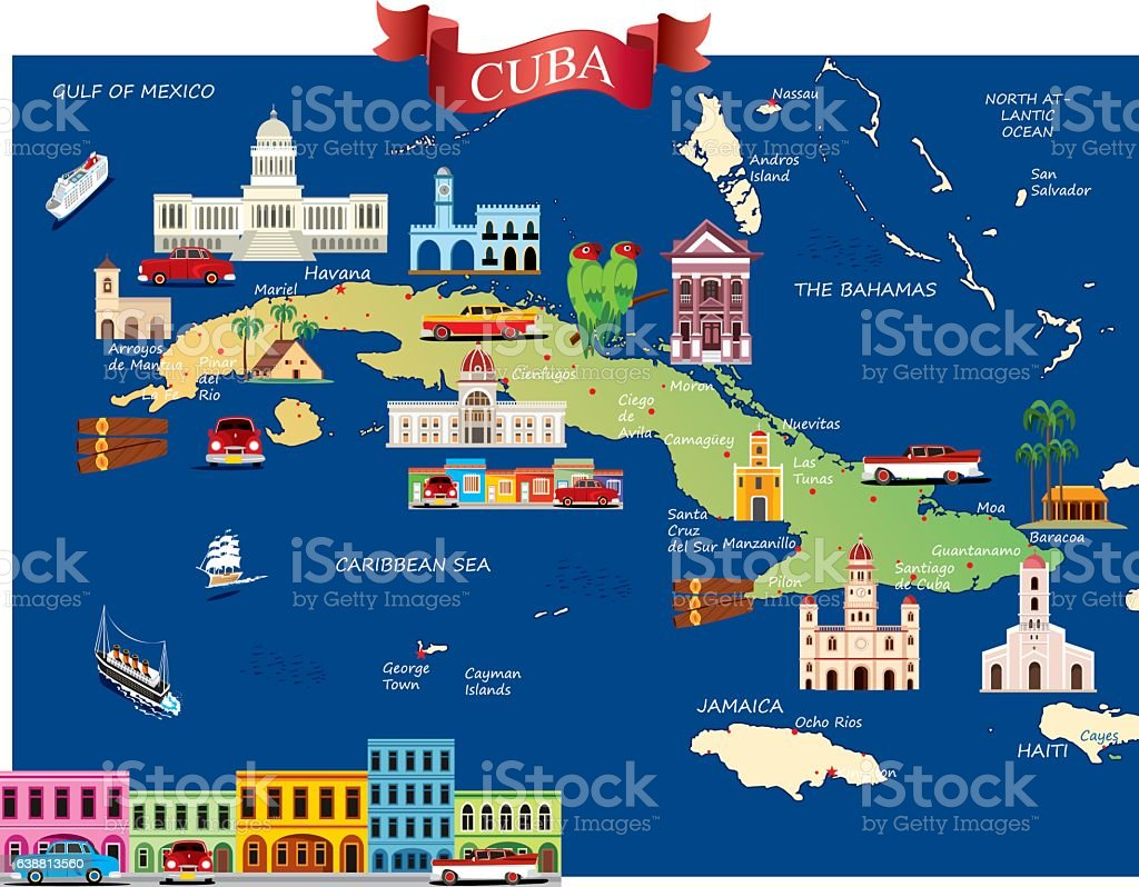 Cartoon map of Cuba vector art illustration