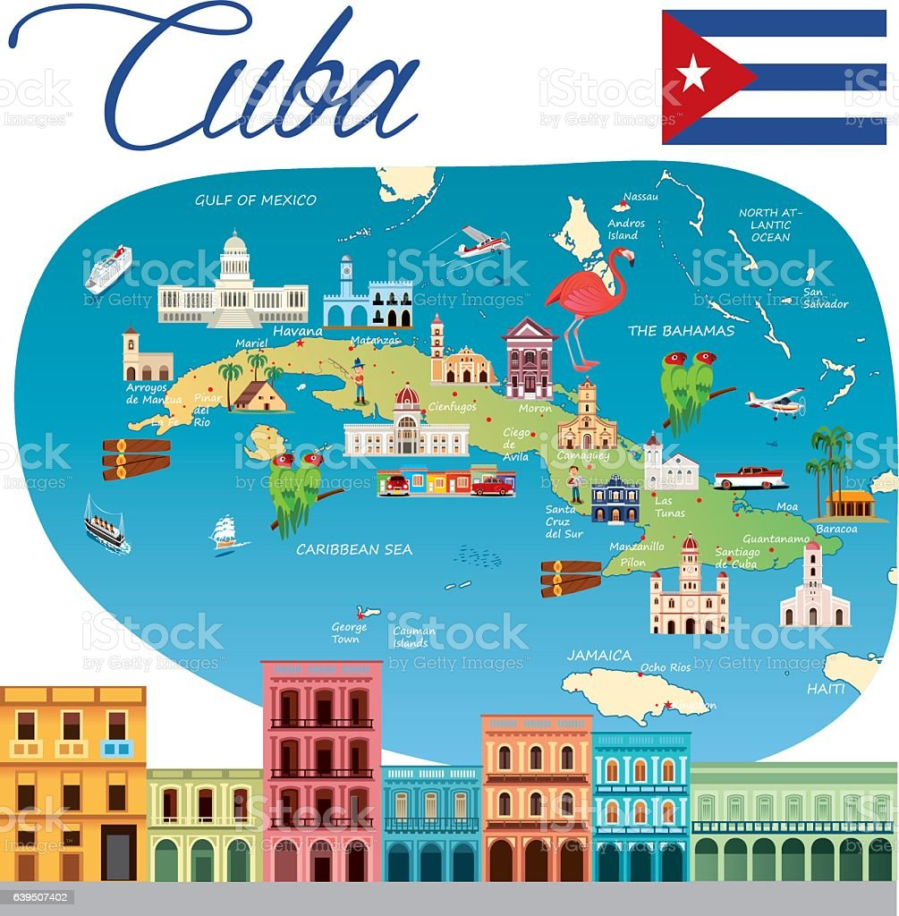 Cartoon map of Cuba vector art illustration