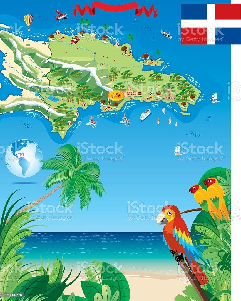 Cartoon map of Dominica vector art illustration