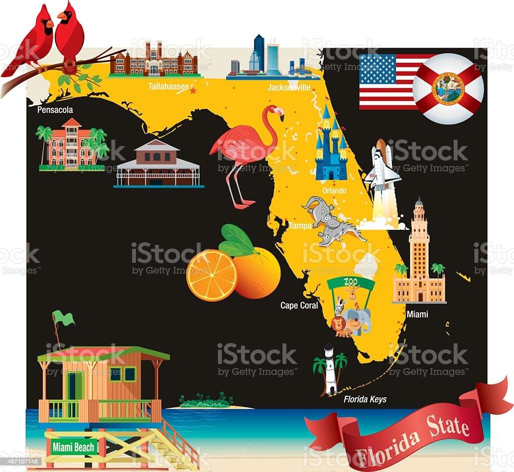 Cartoon Map Of Florida Stock Vector Art  IStock - Florida keys map art
