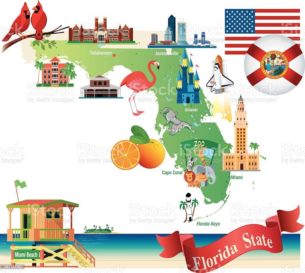 Cartoon Map Of Florida Stock Vector Art IStock - Map of us cartoon