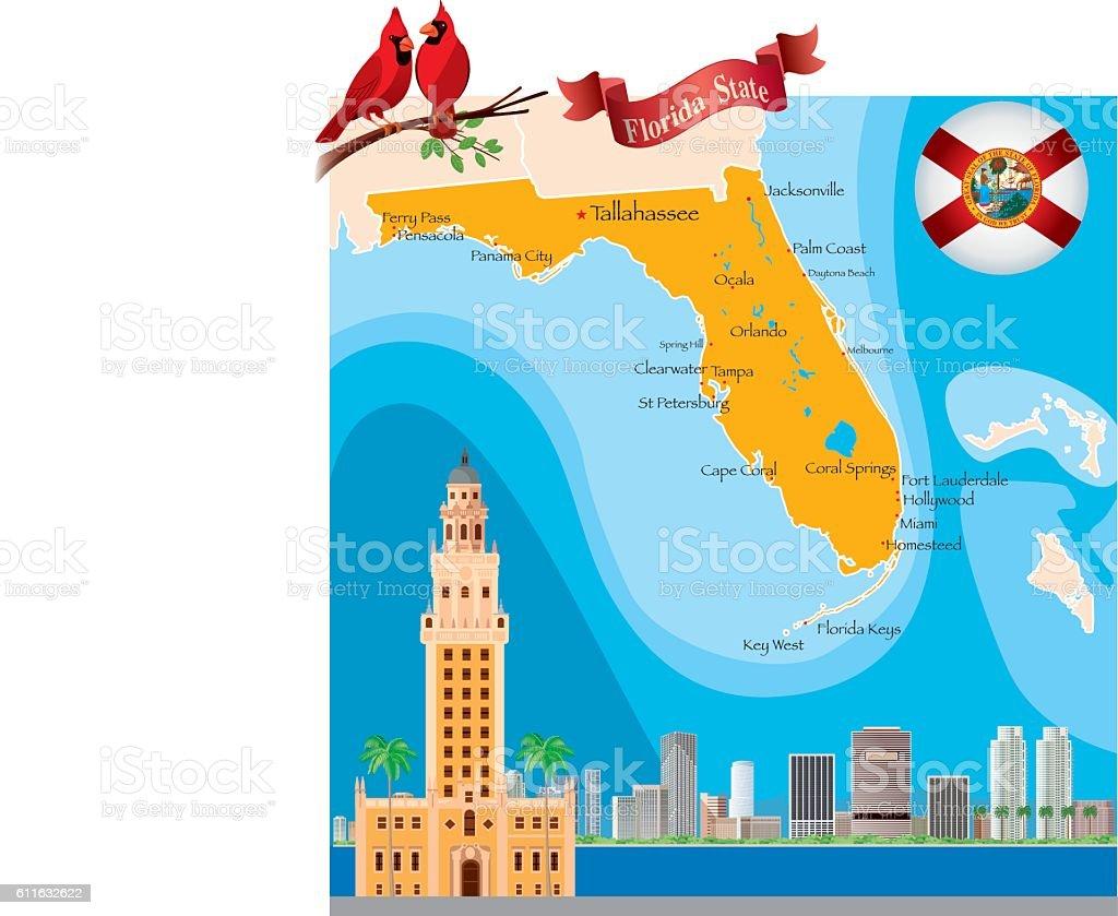 Map Of Florida Stock Vector Art  IStock Florida Map - Florida keys map art