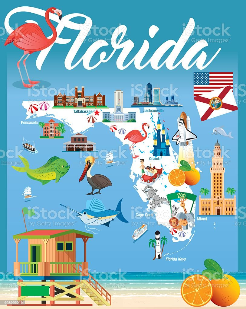 Cartoon map of Florida vector art illustration