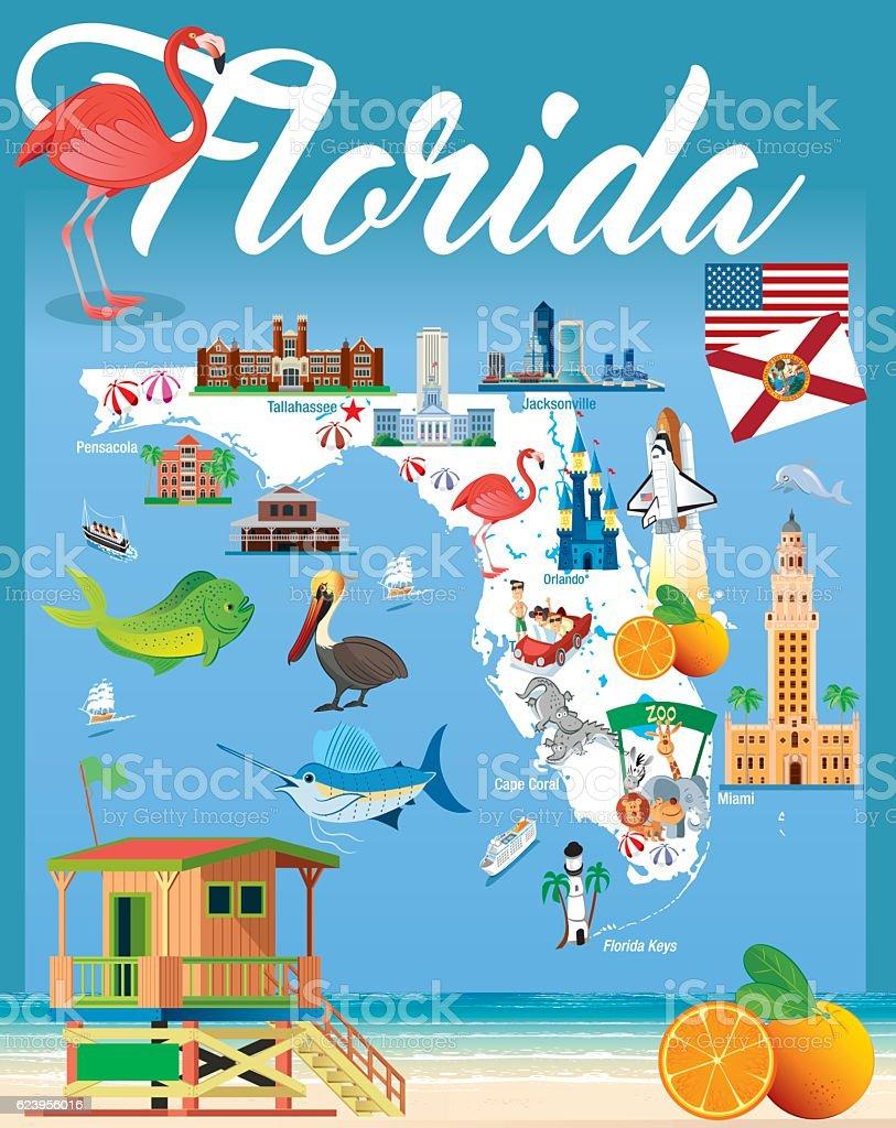 Cartoon map of Florida vector art illustration