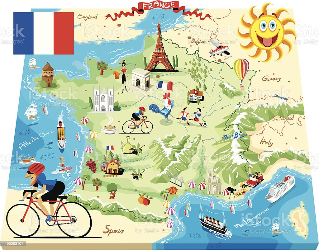 Cartoon map of France vector art illustration