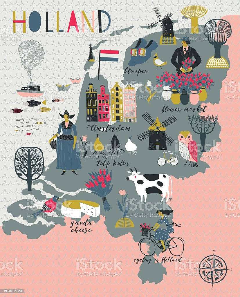 Cartoon Map of Holland with Legend Icons vector art illustration