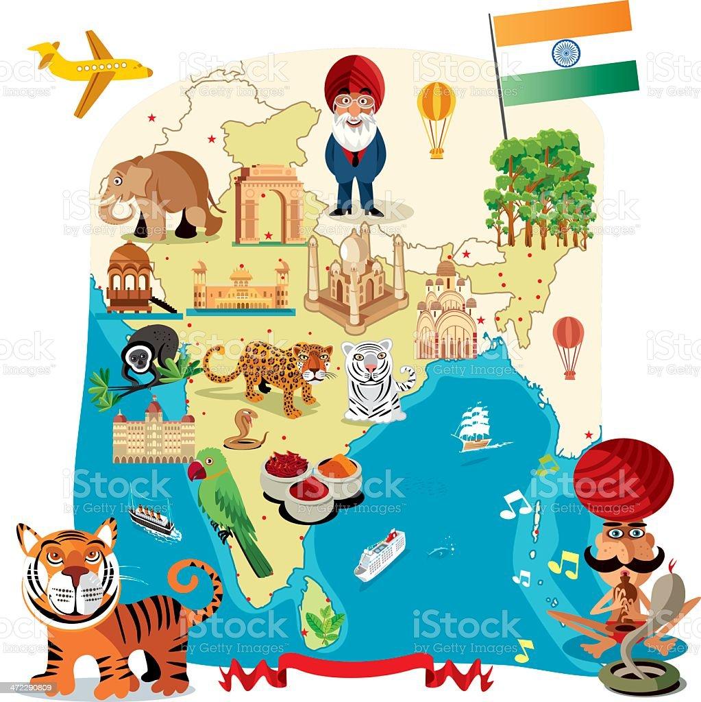 Cartoon map of India vector art illustration