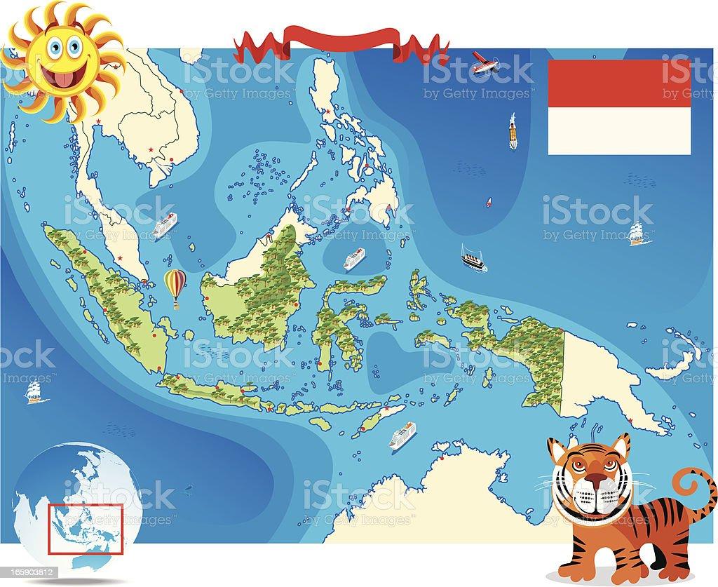 Cartoon map of Indonesia royalty-free stock vector art