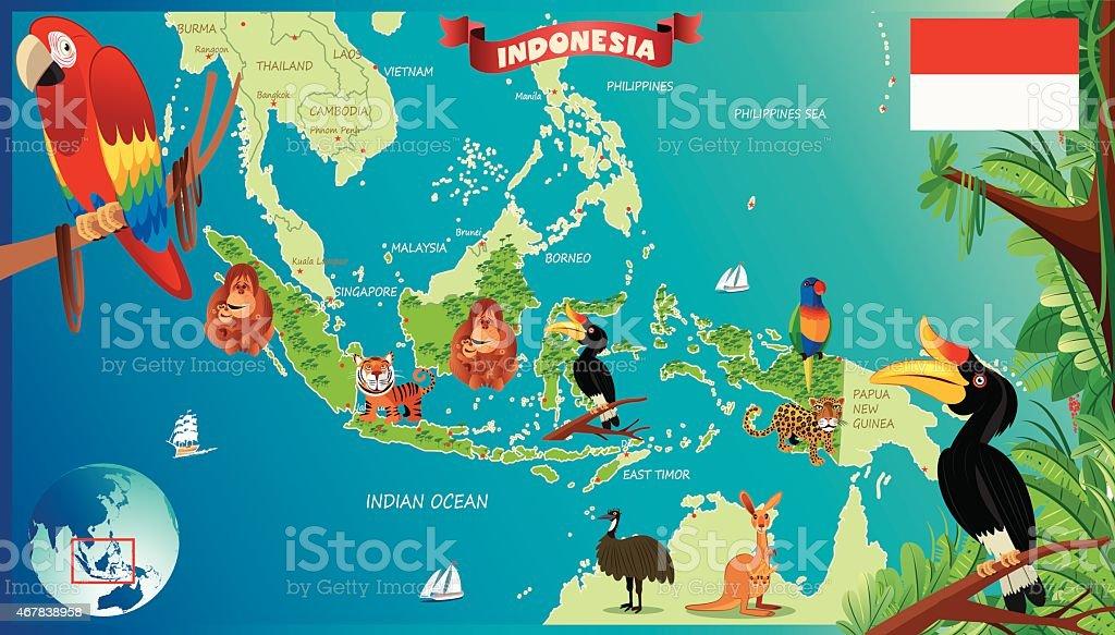 Cartoon map of Indonesia vector art illustration