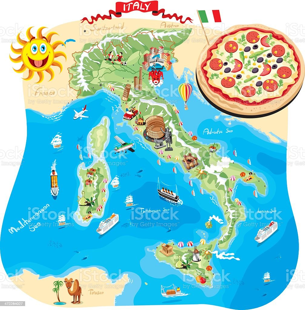 Cartoon map of Italy royalty-free stock vector art