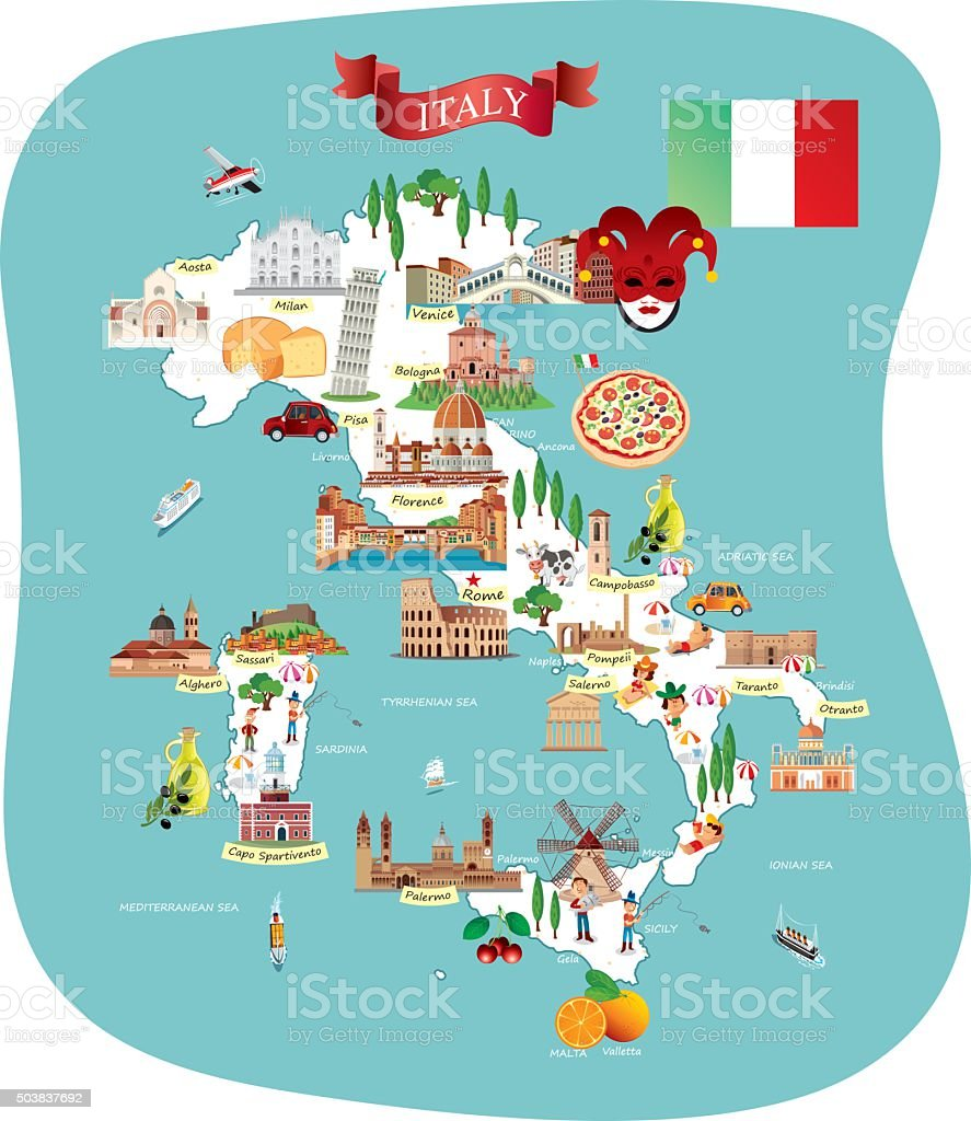 Cartoon map of ITALY vector art illustration