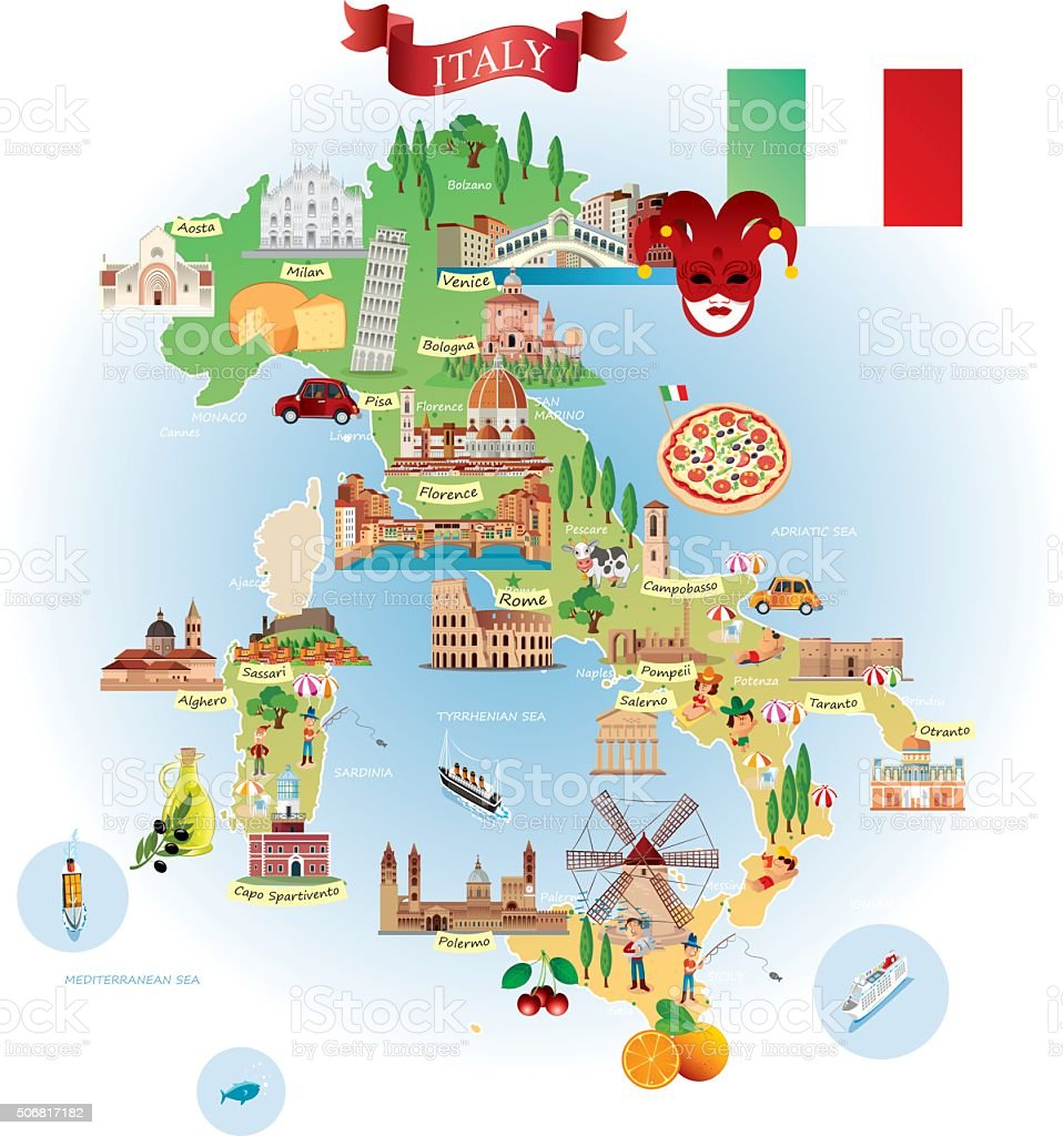 Cartoon map of ITALY vector art illustration