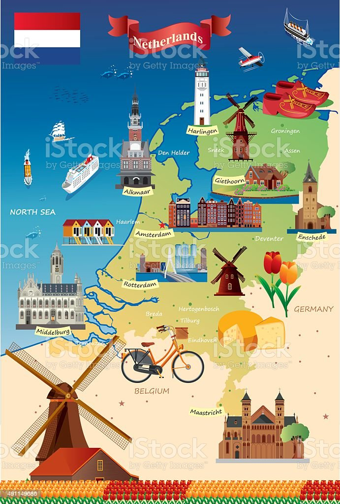 Cartoon map of Netherland vector art illustration