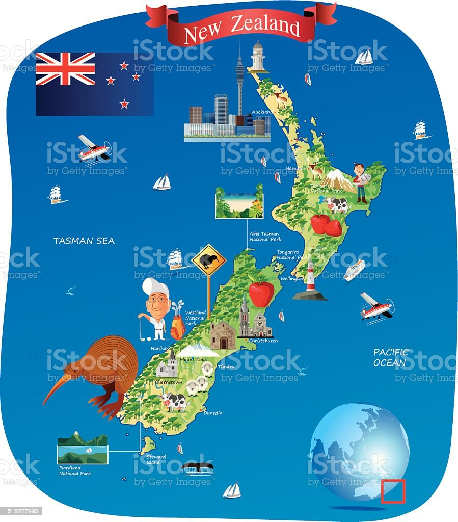 Cartoon map of New Zealand vector art illustration