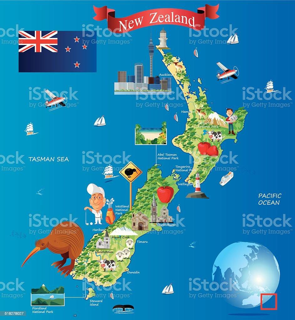 Cartoon map of New Zealand vector art illustration