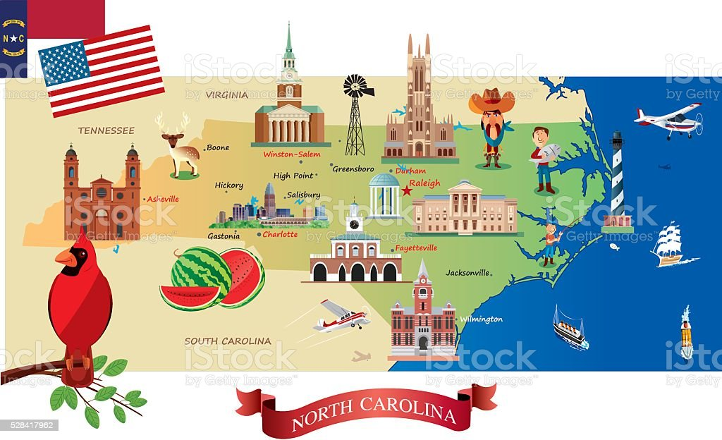 Cartoon map of North Carolina vector art illustration