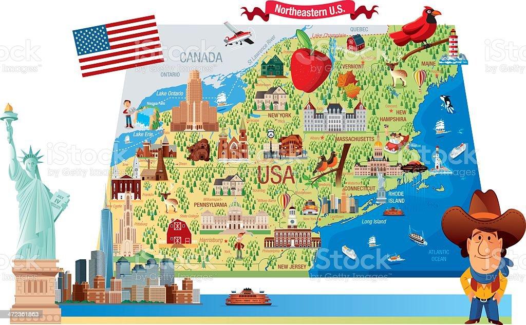 Cartoon Map Of Northeastern Us Stock Vector Art IStock - Map of us cartoon