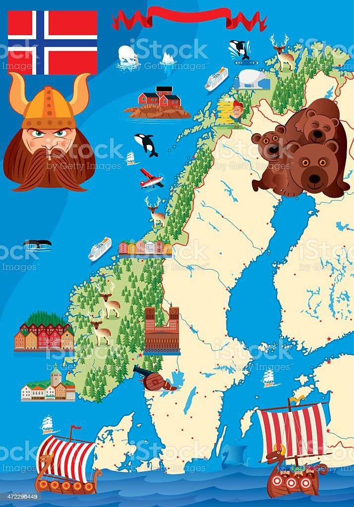 Cartoon map of Norway vector art illustration